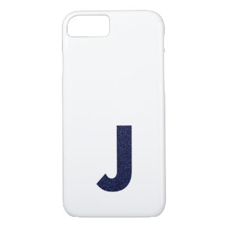 Monogram Capital J with Faux Glitter iPhone 7 Case