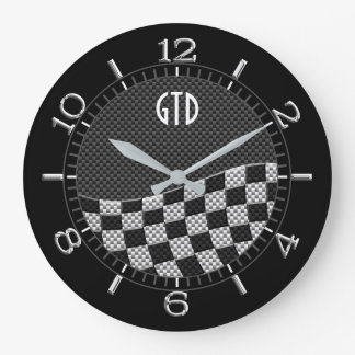 Monogram Carbon Style Checkered Racing Flag Wave Large Clock