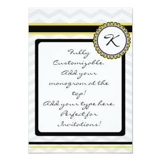 Monogram Card with gray cheveron stripe and yellow