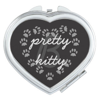 Monogram Cat Paw Print Heart Compact Travel Mirror