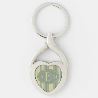 Monogram Celery and Sage Green Stripe Silver-Colored Twisted Heart Keychain