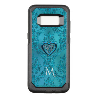 Monogram Celtic Heart Knot on  Turquoise Damask OtterBox Commuter Samsung Galaxy S8 Case