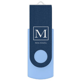 Monogram Centerpiece Custom Name Navy USB Flash Drive