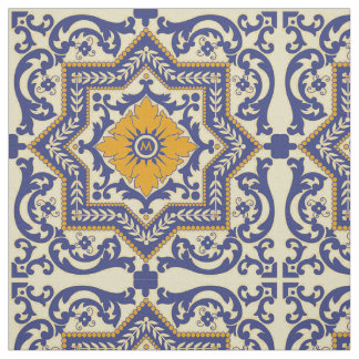 Monogram Ceramic Azulejo Style Blue Orange Fabric