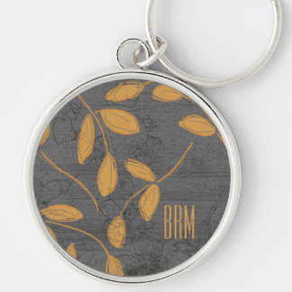 Monogram Chalkboard Leighton Floral Design Silver-Colored Round Keychain