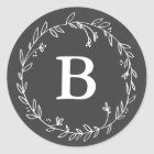 Monogram Chalkboard Wreath Stickers