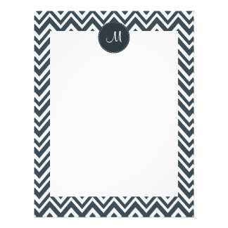 Monogram Charcoal and White  Zigzag Pattern Letterhead