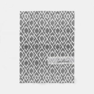 Monogram Charcoal Gray Tribal Ikat Diamond Pattern Fleece Blanket