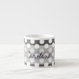 Monogram Charcoal Gray White Polka Dot Pattern Espresso Cup