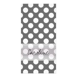 Monogram Charcoal Gray White Polka Dot Pattern Photo Card Template