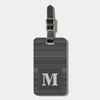 Monogram charcoal stripes bag tag
