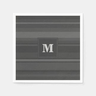 Monogram charcoal stripes paper napkin