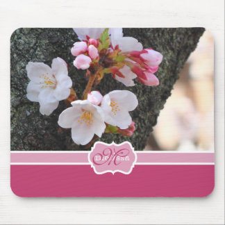 Monogram Cherry Blossom Sakura Blooming Tree Trunk Mouse Pad