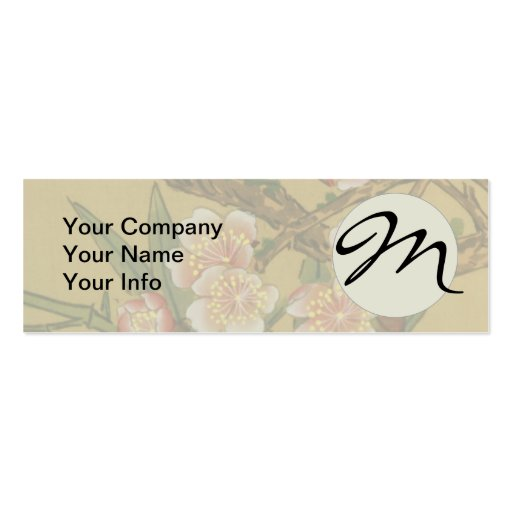 Monogram Cherry Blossoms Asian Japanese Art Business Card Template