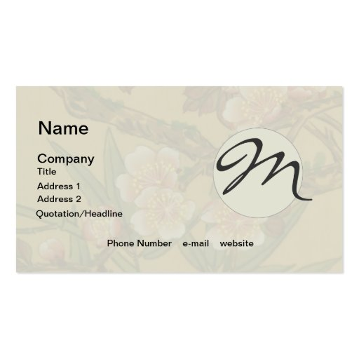Monogram Cherry Blossoms Asian Japanese Art Business Cards