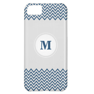 Monogram Chevron Blue / White iPhone 5C Case