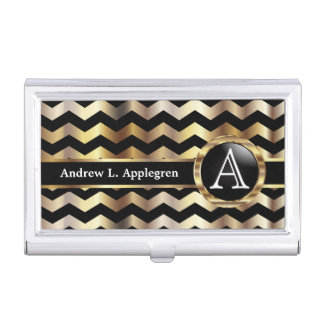 Monogram - Chevron Gold and Black Business Card Holder