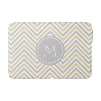 Monogram Chevron Gray And Gold Modern Bath Mat