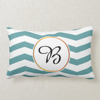monogram & chevron patterned lumbar pillow