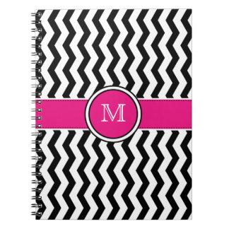 Monogram Chevron Stripes with Pink Spiral Notebook
