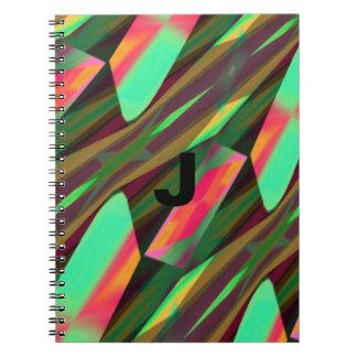 Monogram Chevron Waves Pattern Design Notebooks