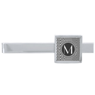 Monogram Chevron Zig Zag Pattern Classic Tie Bar Silver Finish Tie Bar