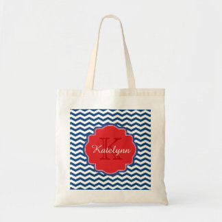 Monogram Chevron Zigzag Custom Tote Bag