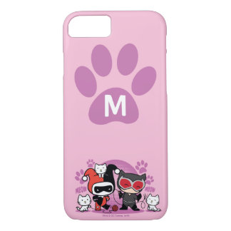 Monogram Chibi Harley Quinn & Catwoman With Cats iPhone 8/7 Case