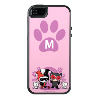 Monogram Chibi Harley Quinn & Catwoman With Cats OtterBox iPhone 5/5s/SE Case