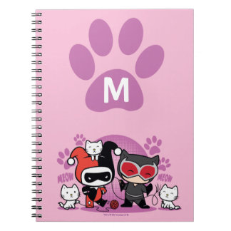 Monogram Chibi Harley Quinn & Catwoman With Cats Spiral Notebook