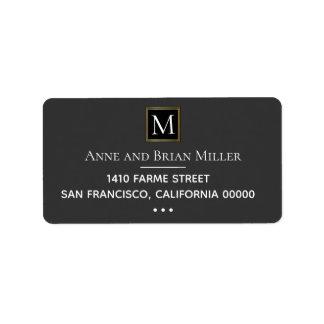 monogram chic bride & groom wedding dark gray label