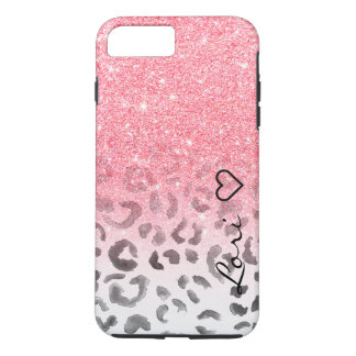 Monogram chic faux pink glitter leopard watercolor Case-Mate iPhone case