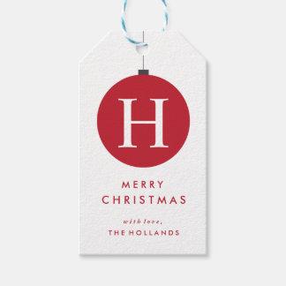 Monogram Christmas Ball Gift Tags | CHRISTMAS