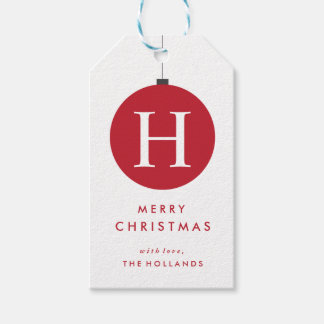 Monogram Christmas Ball Gift Tags | CHRISTMAS Pack Of Gift Tags