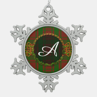 Monogram Christmas Holiday Tartan Pewter Snowflake Ornament