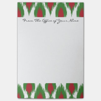 Monogram Christmas Red Green Ikat Diamond Pattern Post-it Notes