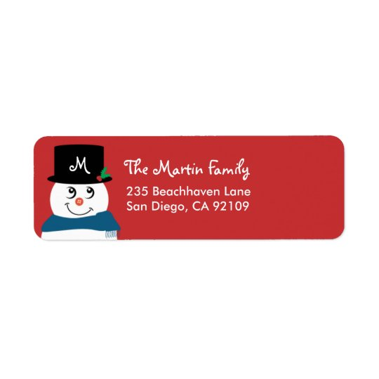 Monogram Christmas Return Address Label - Snowman