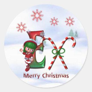 Monogram Christmas Sticker E