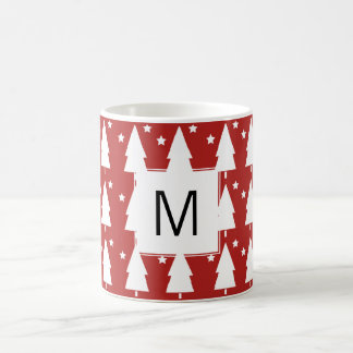 Monogram Christmas Trees | Red Coffee Mug Gift