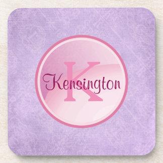 Monogram Circle on a Pretty Lavender Background Coaster