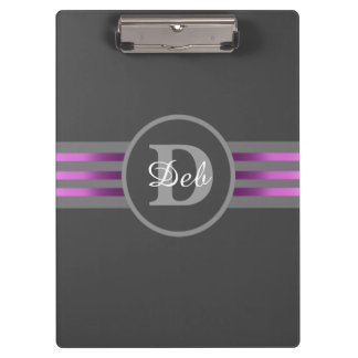 Monogram Circle Silhouette Black and Gray Stripes Clipboard