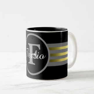 Monogram Circle Silhouette Black and Gray Stripes Two-Tone Coffee Mug
