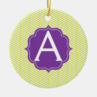 Monogram Citron Chevron with Purple Ceramic Ornament