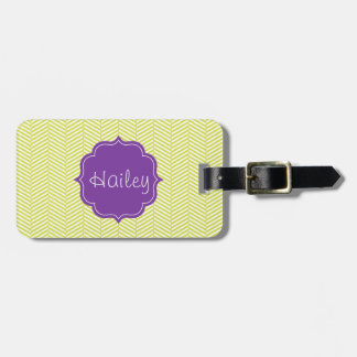 Monogram Citron Chevron with Purple Luggage Tag