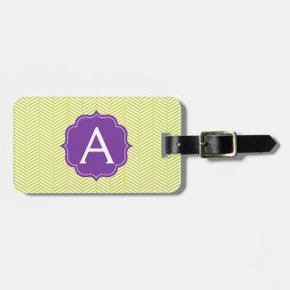 Monogram Citron Chevron with Purple Luggage Tag