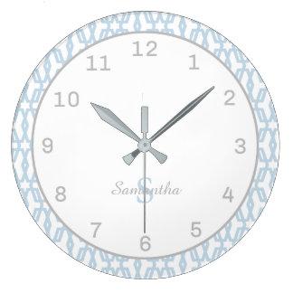 Monogram Classic Blue & Gray Wall Clock