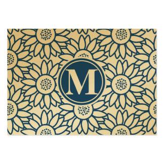 Monogram Classic Blue Sunflower Large Business Card