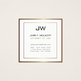 MONOGRAM Classic Bronze Minimalist White Attorney Square Business Card