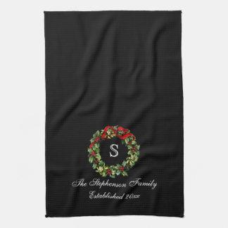 Monogram Classic Holly Wreath Custom Christmas Hand Towel