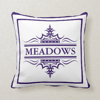 Monogram Classic Navy Blue And White Throw Pillow